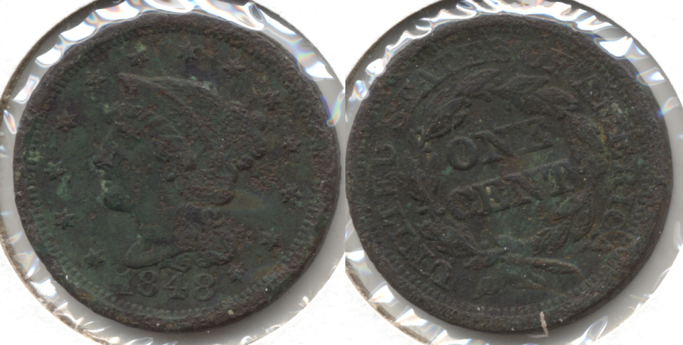 1848 Coronet Large Cent Fine-12 b Dark
