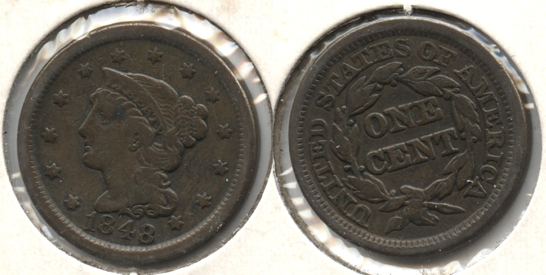 1848 Coronet Large Cent Fine-12 #h Old Cleaning