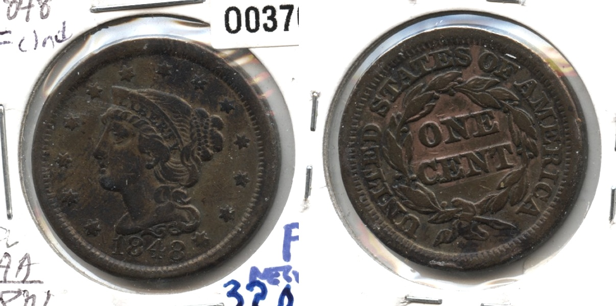1848 Coronet Large Cent Fine-12 #q Cleaned