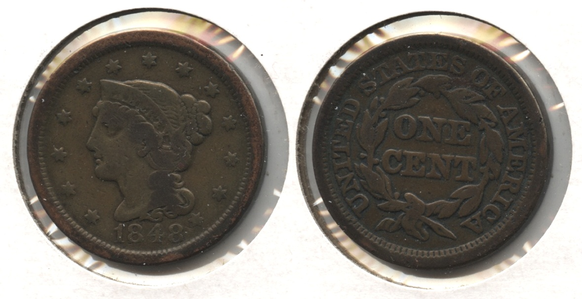 1848 Coronet Large Cent Fine-12 #z Cleaned Retoned