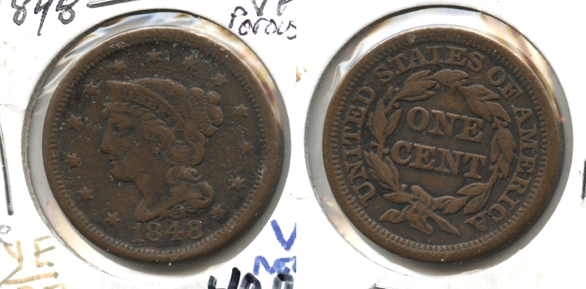 1848 Coronet Large Cent VF-20 #e Porous