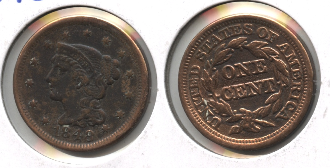 1848 Coronet Large Cent VF-20 #h Cleaned