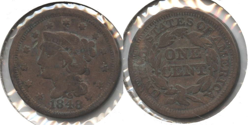 1848 Coronet Large Cent VG-8 #f Cleaned