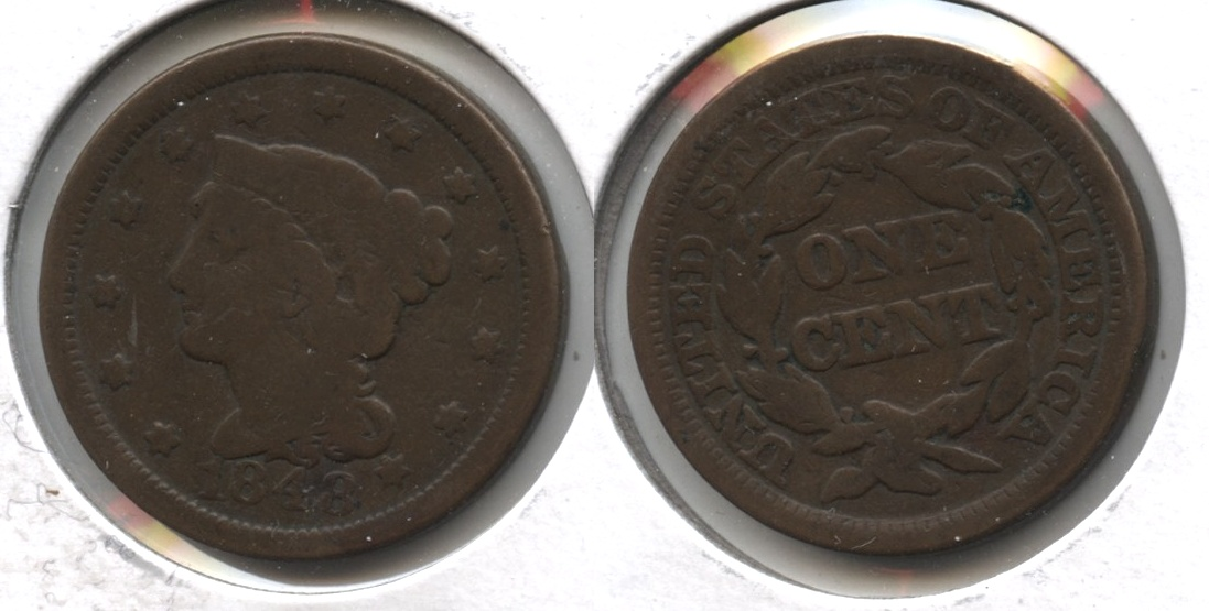 1848 Coronet Large Cent VG-8 #h