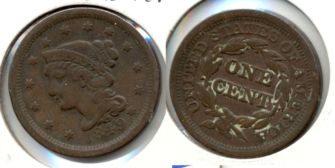 1849 Coronet Large Cent Fine-12 a Cleaned Retoned