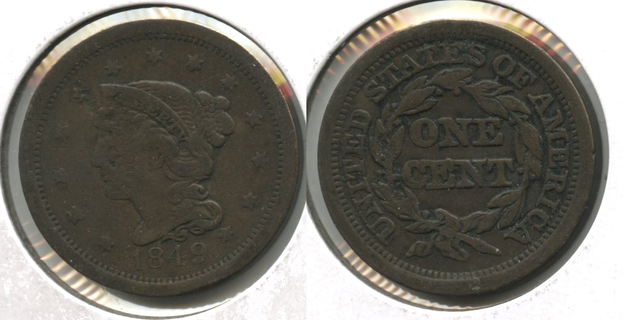 1849 Coronet Large Cent Fine-12 #o Obverse Damage