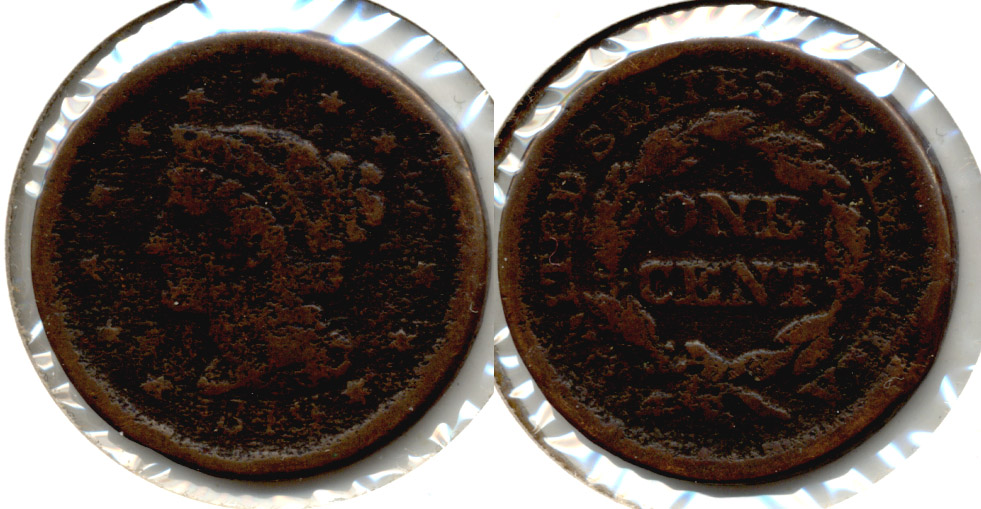 1849 Coronet Large Cent Good-4 a Pitted