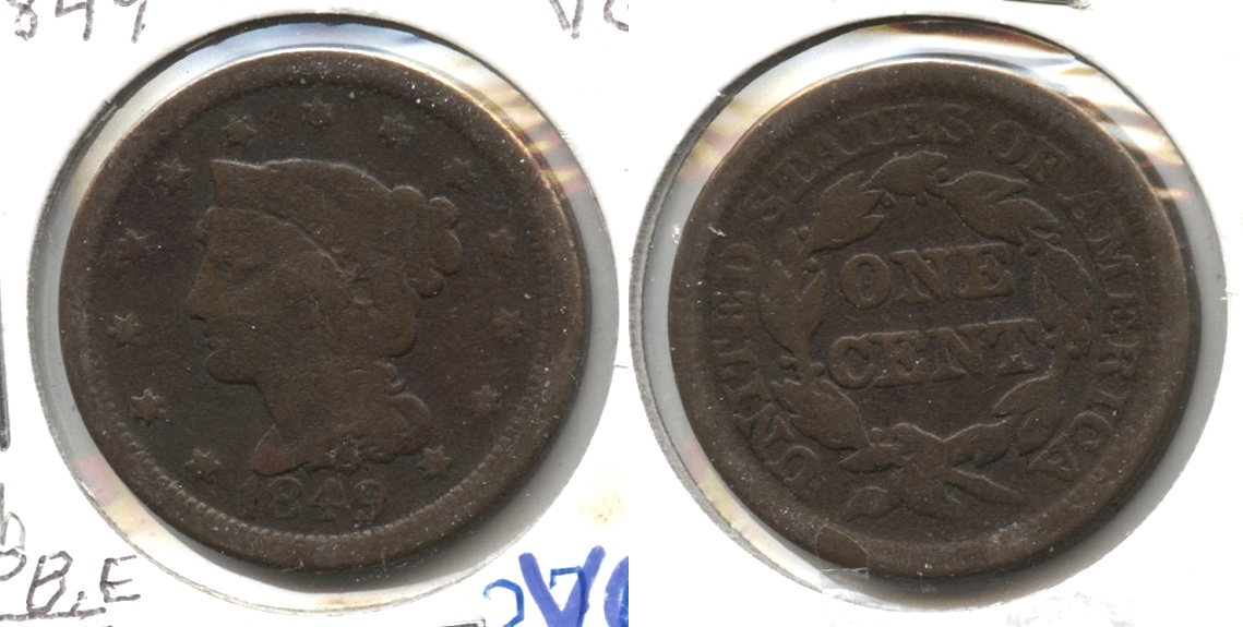 1849 Coronet Large Cent VG-8 #h