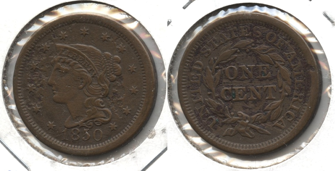 1850 Coronet Large Cent EF-40 #b Serious Pitting