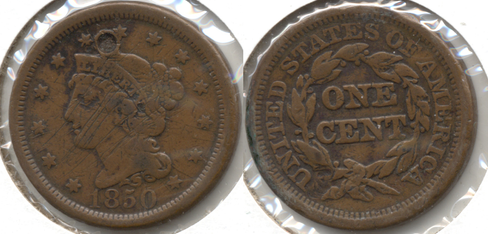 1850 Coronet Large Cent Fine-12 f Attempted Hole