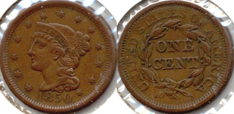 1850 Coronet Large Cent VF-30 a