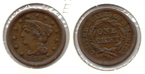 1851 Coroned Large Cent EF-45