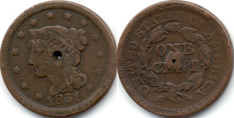 1851 Coroned Large Cent Fine-12 a Holed