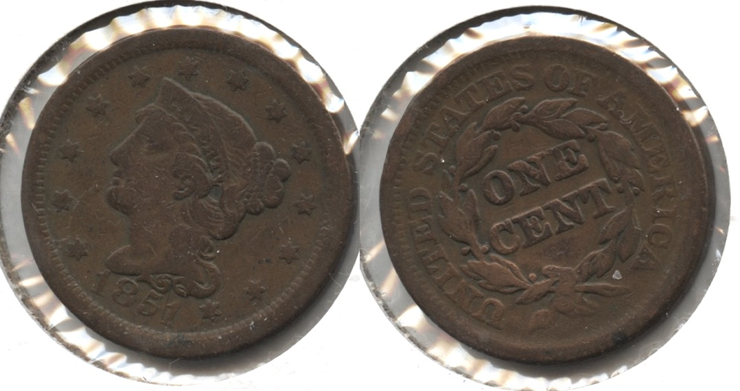 1851 Coronet Large Cent Fine-12 #s Old Cleaning