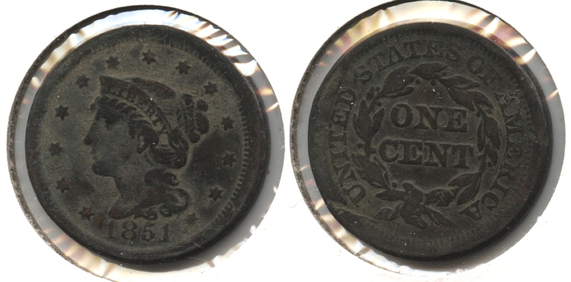 1851 Coronet Large Cent Fine-12 #v Surface Matter