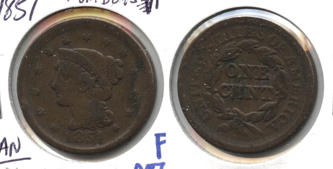 1851 Coronet Large Cent Fine-12 #x Rim Bumps
