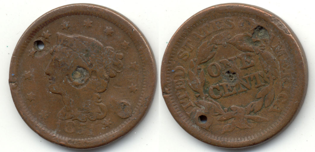 1851 Coroned Large Cent Good-4 a Holed