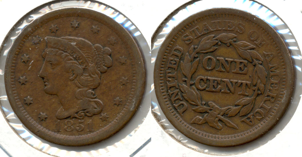 1851 Coroned Large Cent VF-20 b