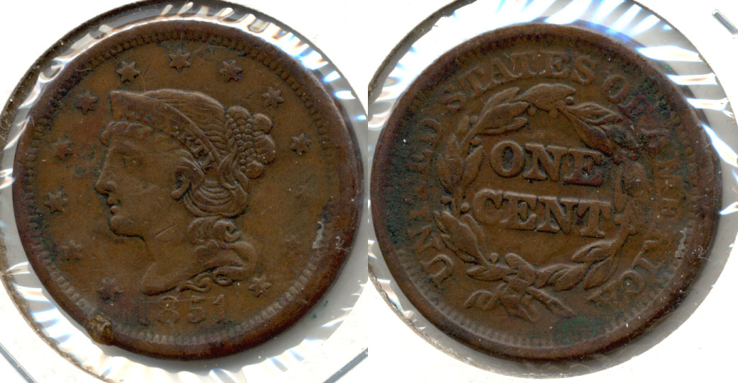 1851 Coroned Large Cent VF-20 c Problems