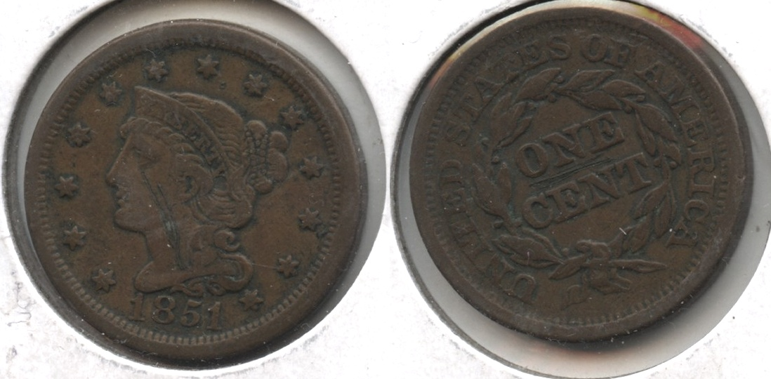 1851 Coronet Large Cent VF-20 #g Obverse Scratch