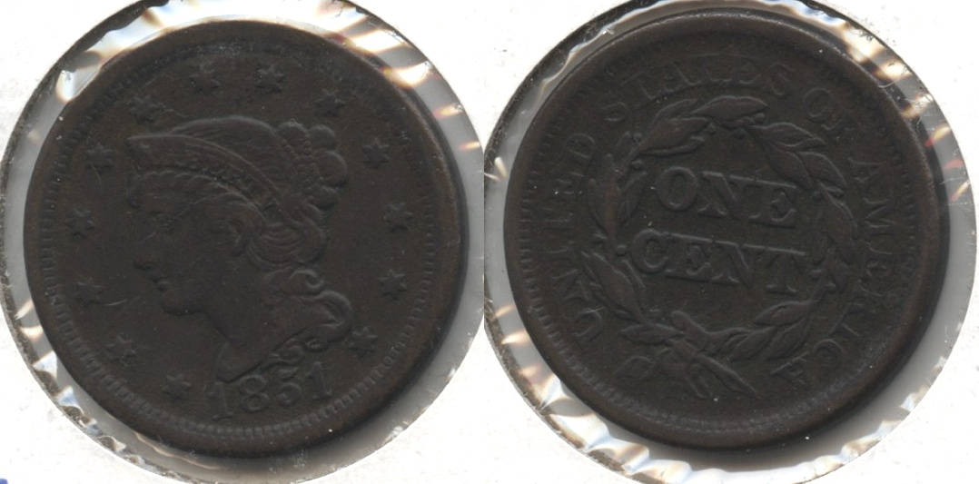 1851 Coronet Large Cent VF-20 #i Bit Dark