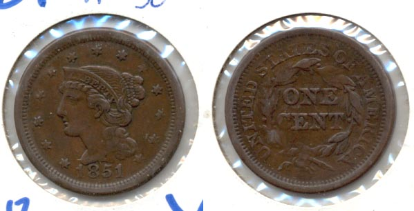 1851 Coroned Large Cent VF-30