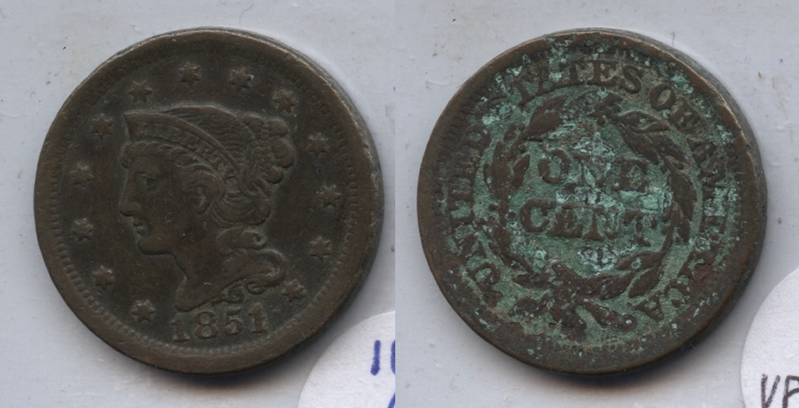 1851 Coronet Large Cent VF-30 #c Ugly Reverse