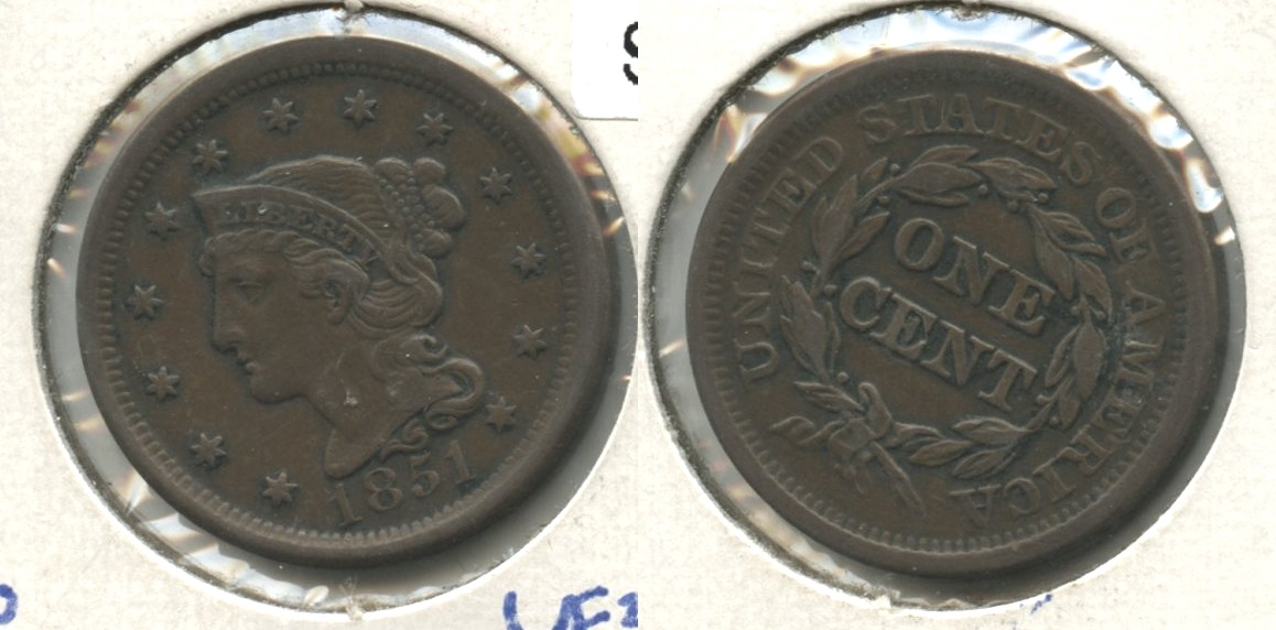 1851 Coronet Large Cent VF-30 #d