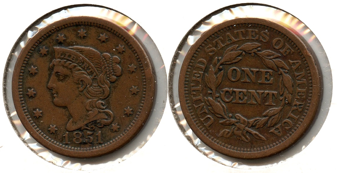 1851 Coronet Large Cent VF-35