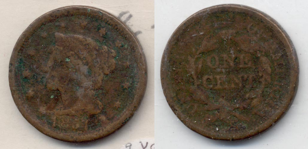 1851 Coroned Large Cent VG-8 a Corroded