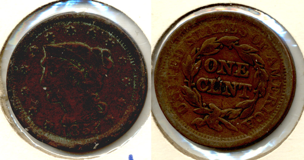 1851 Coroned Large Cent VG-8 c Dark Obverse