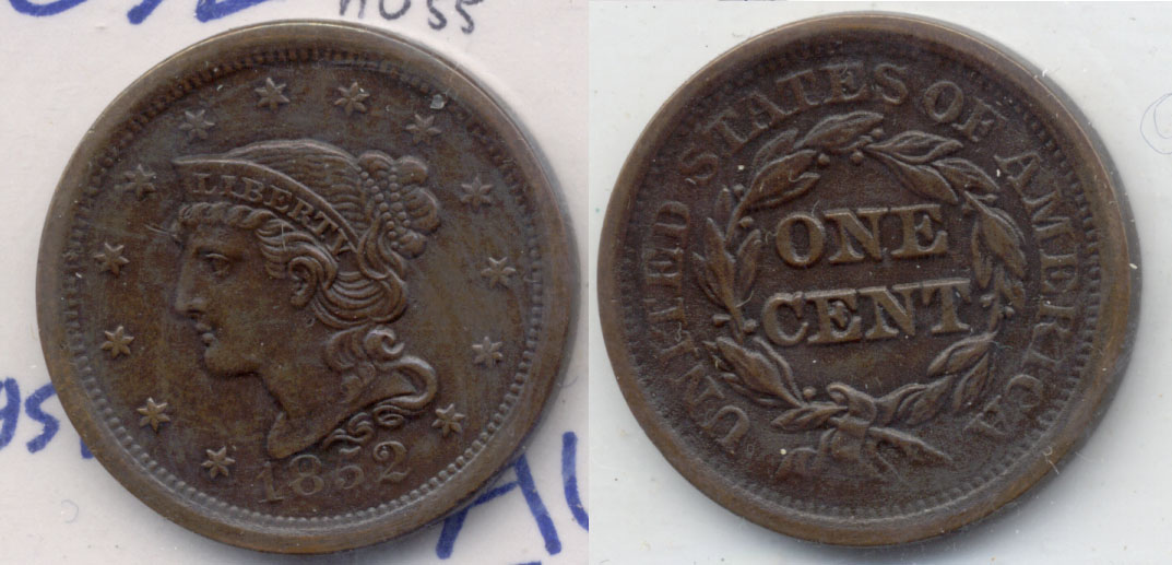 1852 Coroned Large Cent AU-55