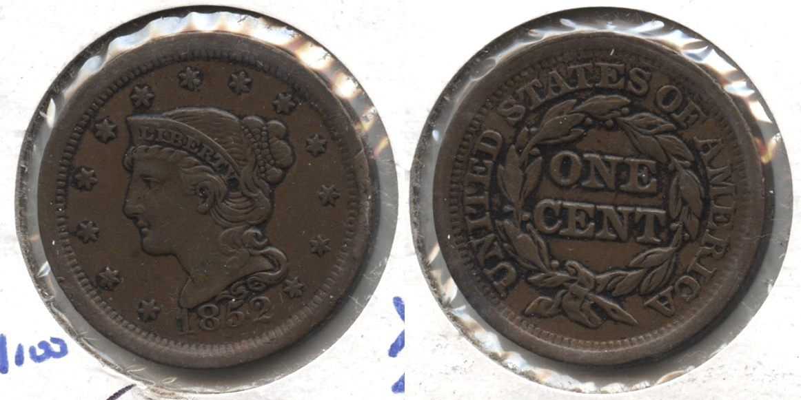 1852 Coronet Large Cent EF-45