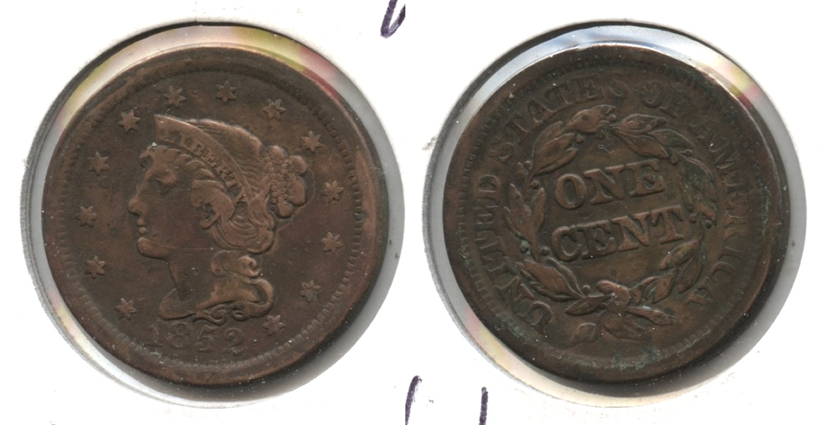 1852 Coronet Large Cent Fine-15 Cleaned Retoned