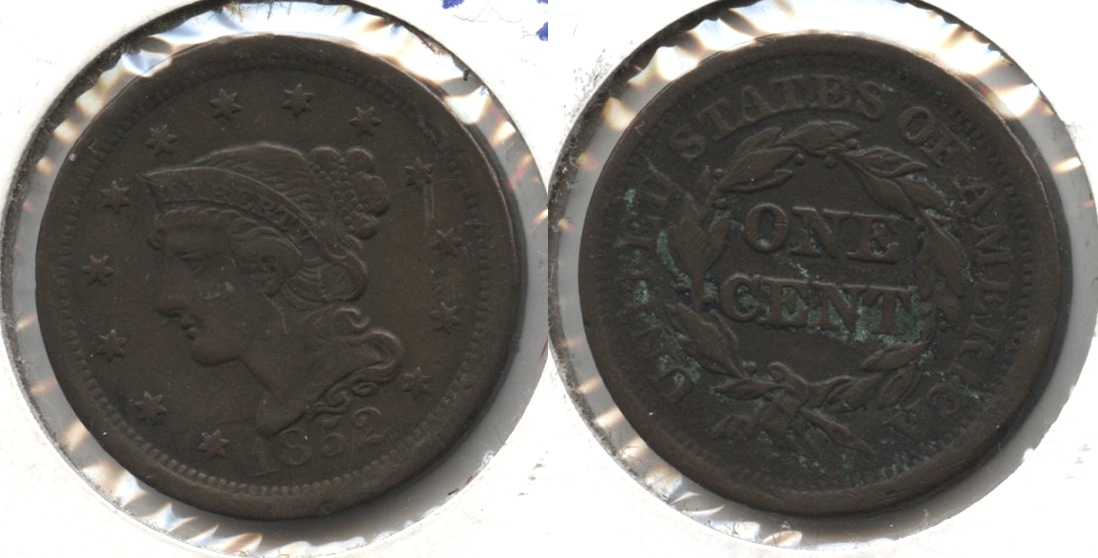 1852 Coronet Large Cent VF-20 #f Reverse Green