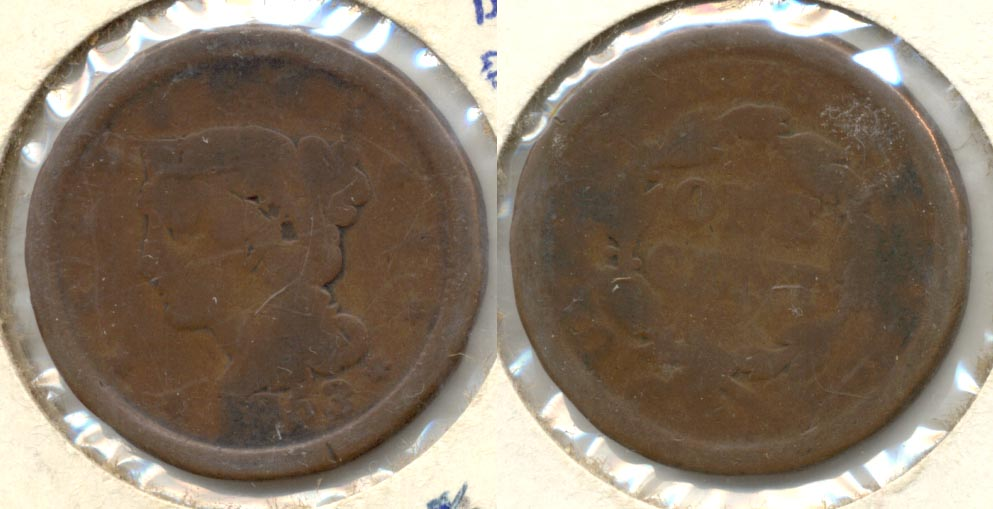 1853 Coroned Large Cent AG-3