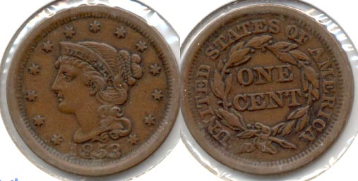 1853 Coroned Large Cent EF-40 a