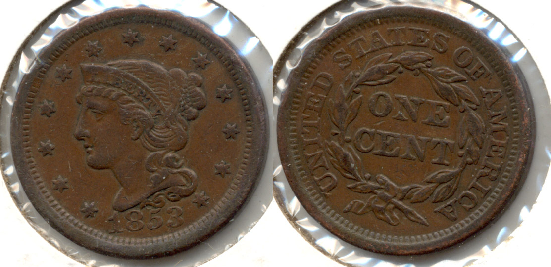 1853 Coroned Large Cent EF-45 a