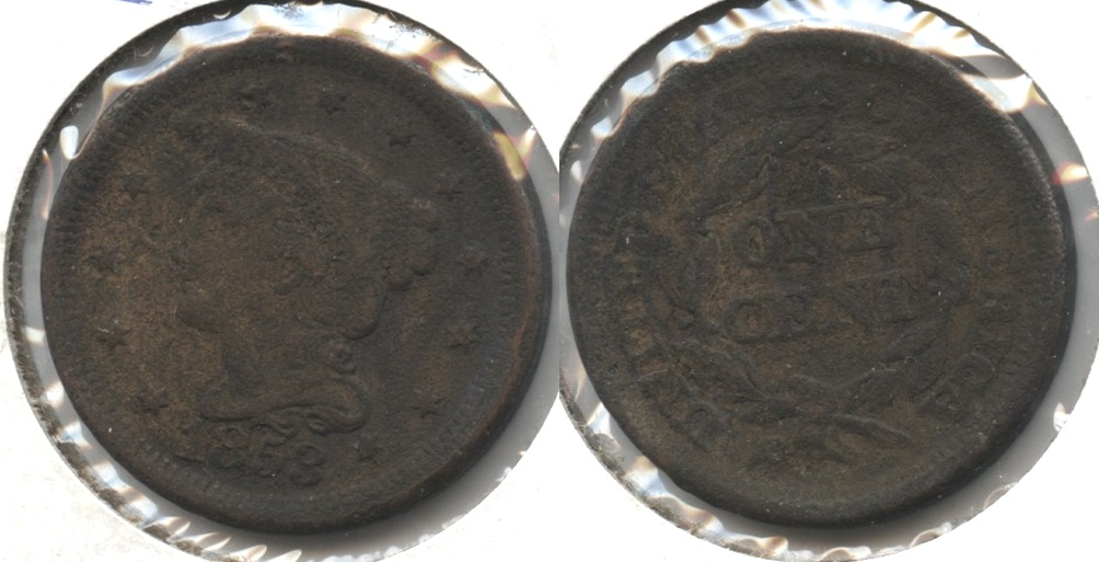 1853 Coronet Large Cent Fine-12 #j Corroded