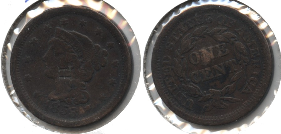 1853 Coronet Large Cent Fine-12 #l Punched H