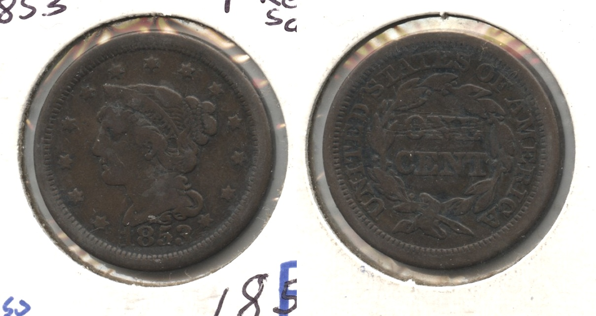 1853 Coronet Large Cent Fine-12 #t Reverse Scratches