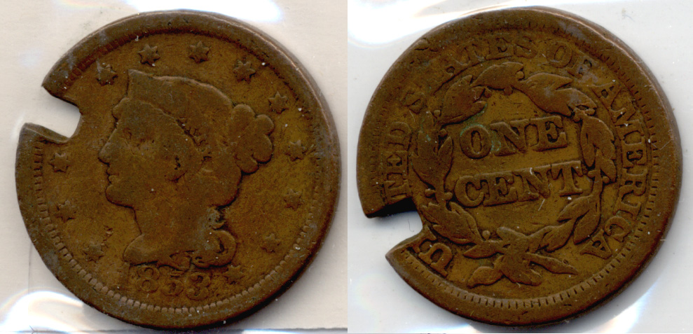 1853 Coroned Large Cent Good-4 Damaged