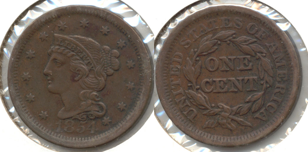 1854 Coroned Large Cent EF-40