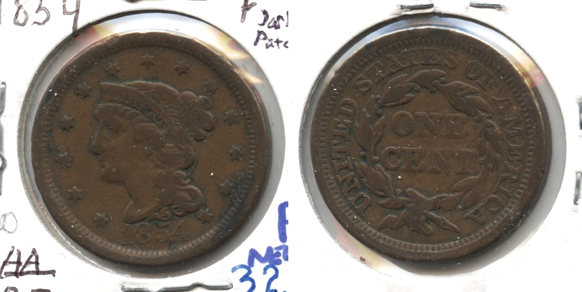 1854 Coronet Large Cent Fine-12 #o Dark Patch