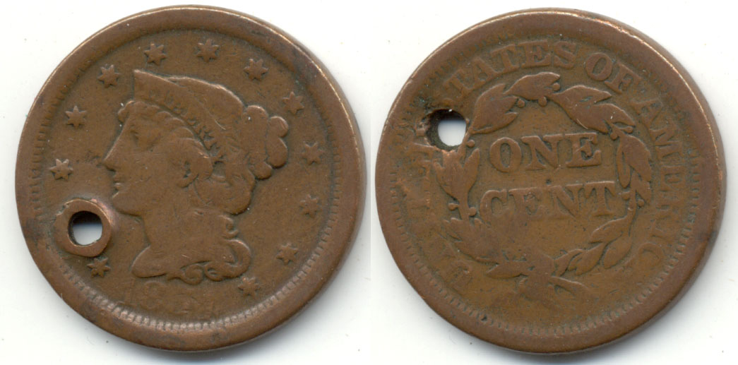 1854 Coroned Large Cent Good-4 a Holed