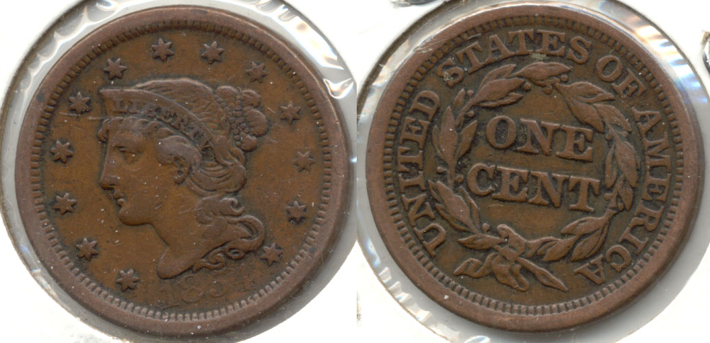 1854 Coroned Large Cent VF-20 #b