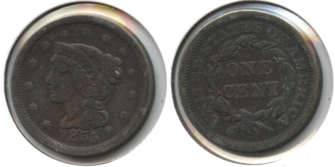 1855 Coronet Large Cent Fine-12 #b Cleaned Retoned