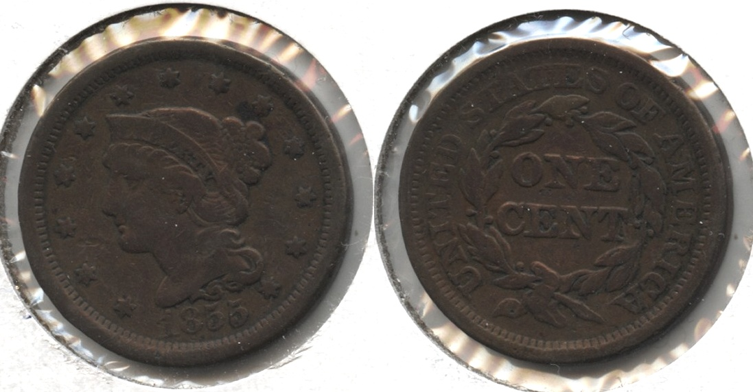 1855 Coronet Large Cent Fine-12 #c Cleaned Retoned