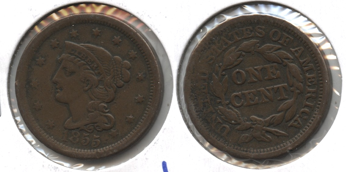 1855 Coronet Large Cent VF-20 #b