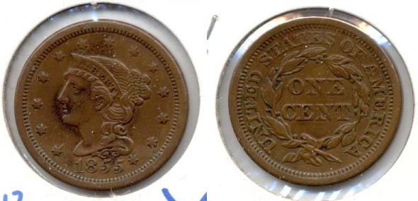 1855 Coronet Large Cent VF-30